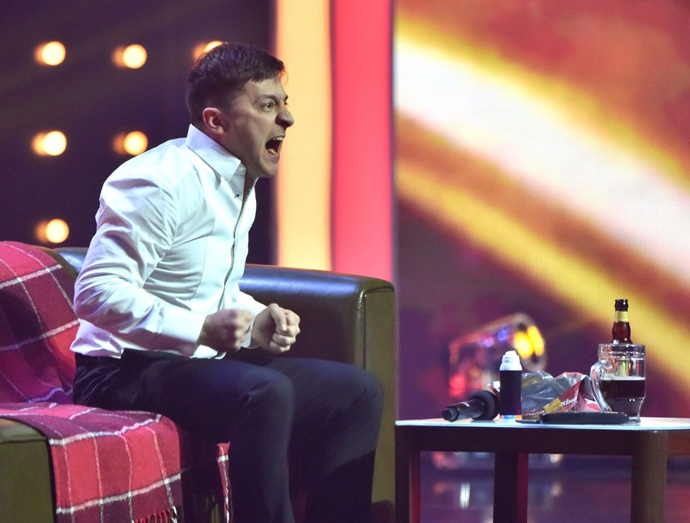 Zelensky performs in Kiev in March with his comedy group, Kvartal 95