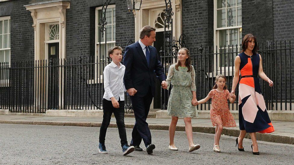 David and Samantha Cameron leave Downing St with their children