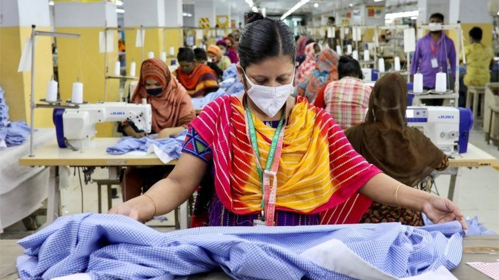 A woman works in a garment factory in Dhaka, Bangladesh (file photo)