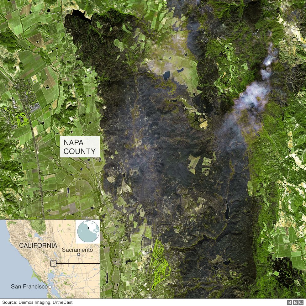 Satellite image shows scorched hills in Napa County