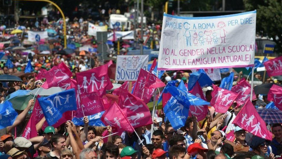 """People holding up a banner reading """"No to gender in school! Yes to the natural family!"""" during a rally in Rome, Italy, 20 June 2015"""