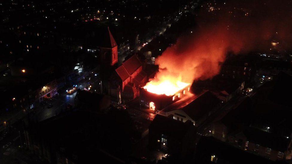 Drone image of fire in Greenock