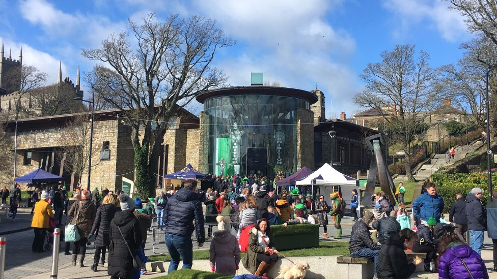 Downpatrick's celebrations took place within reach of the iconic St Patrick's Centre and Down Cathedral - where the patron saint is buried