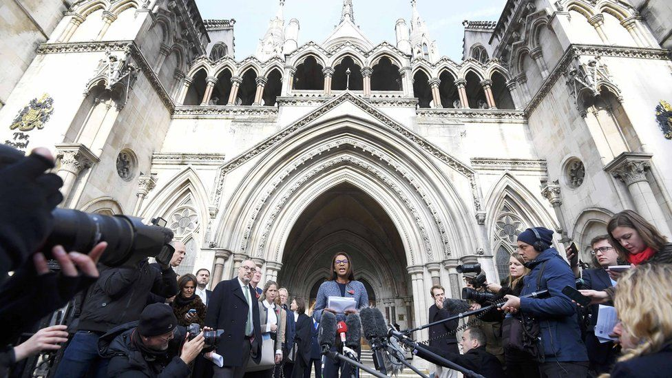Lead claimant Gina Miller addresses the media outside the High Court