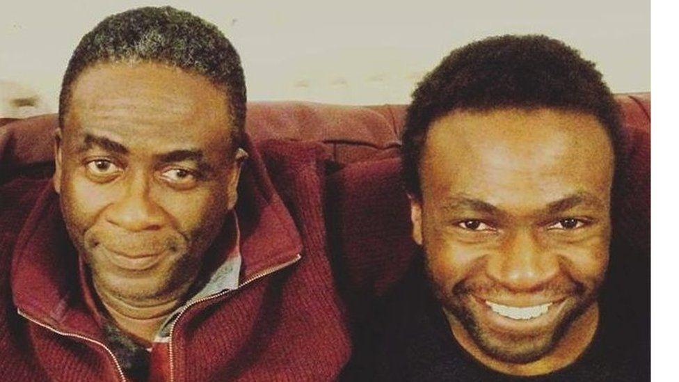 Lobby with his dad Femi