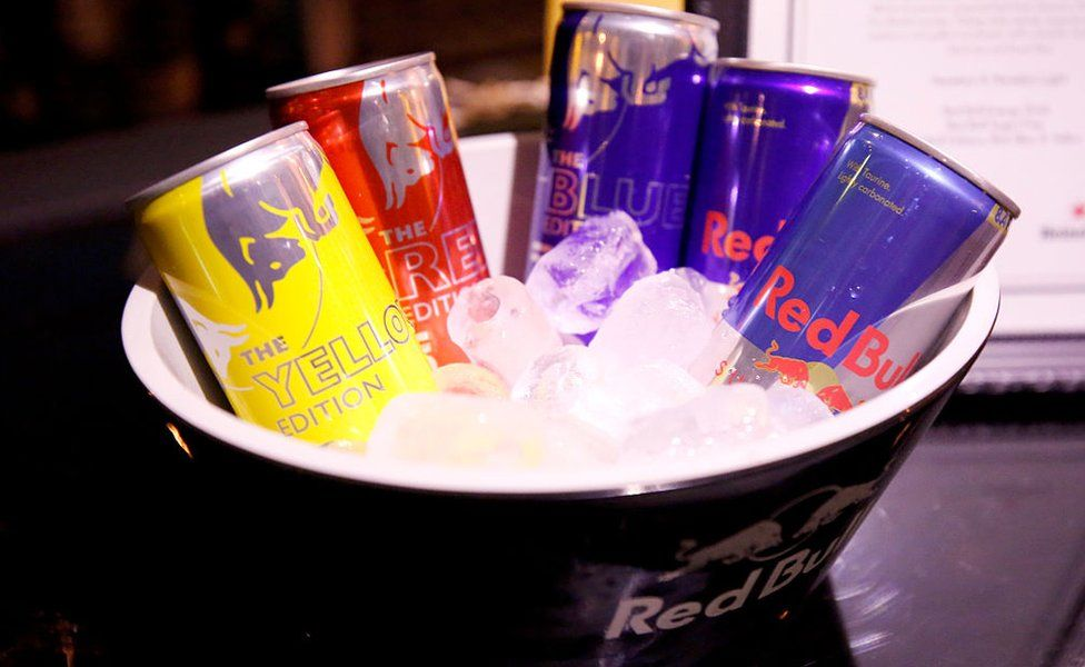 A view of the Red Bull beverage.