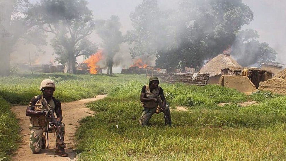 Soldiers from 21 Brigade and Army Engineers clearing Islamic militant group Boko Haram camps at Chuogori and Shantumari in Borno State, Nigeria, 30 July 2015
