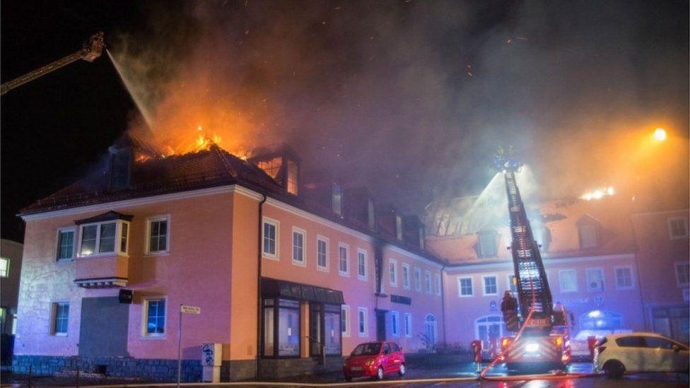 Future migrant accommodation on fire in Bautzen, eastern Germany