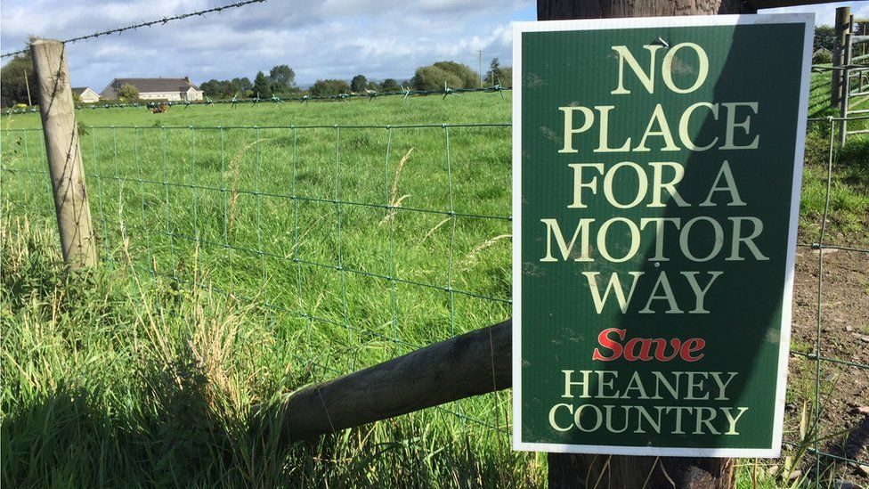 Placard saying 'save Heaney country'