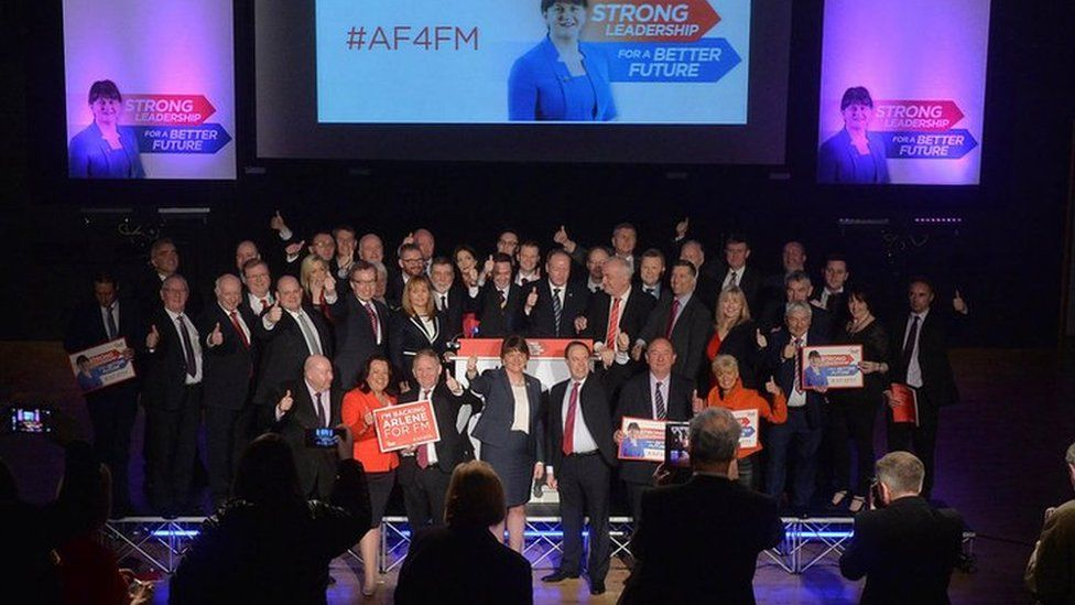 Launch of DUP manifesto for 2016 assembly election. Arlene foster is pictured with party candidates on Stage at the Spectrum Centre.