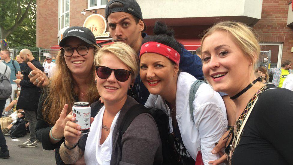 Larissa (in dark glasses) and her friends