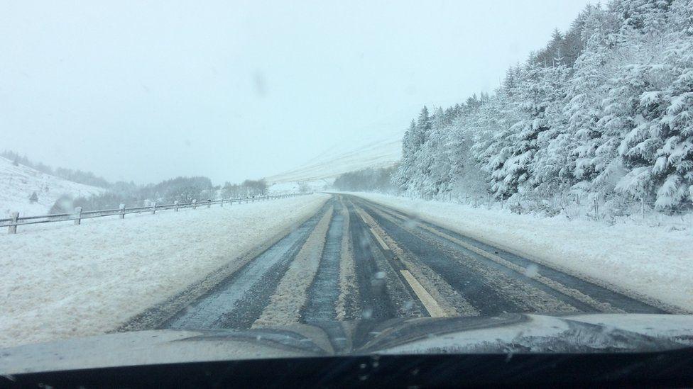 The A470 road was treacherous near Pen y Fan in the Brecon Beacons