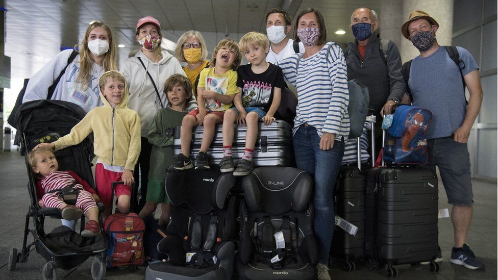 The Webster Family, who live in Beckenham and Chichester, at Gatwick Airport after returning on a flight from Faro in Portugal