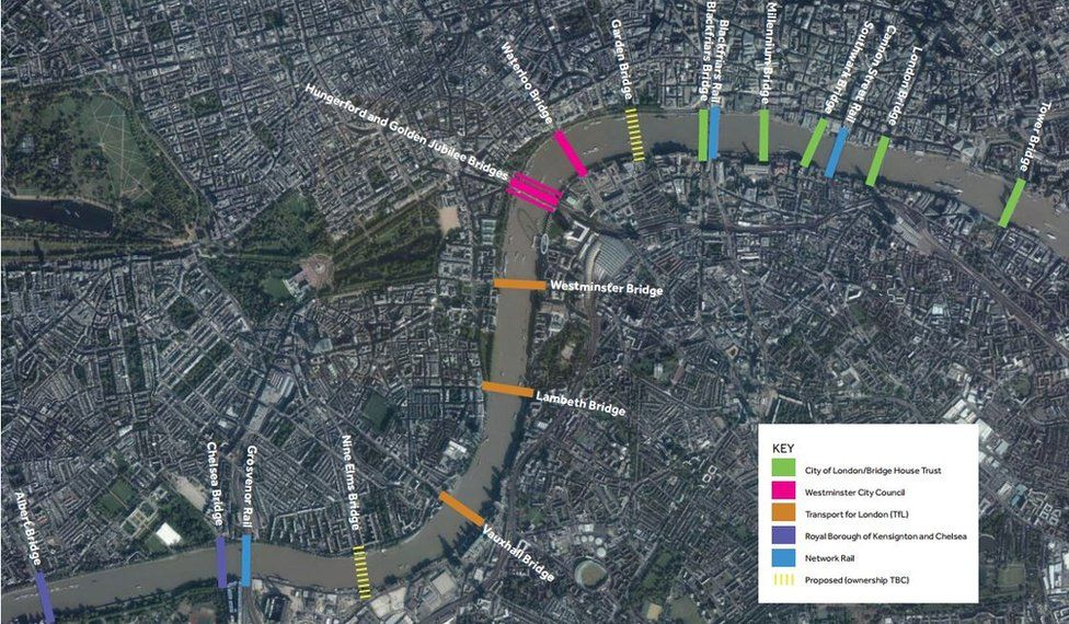 Map of the London bridges in the planned scheme