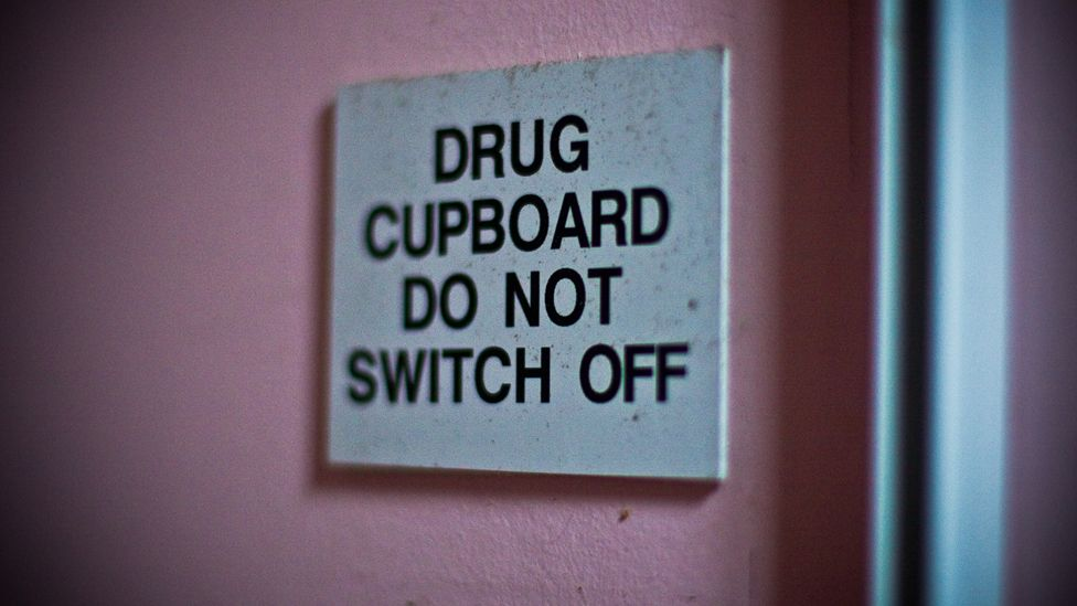 """Sign at Aston Hall """"Drug Cupboard do not switch off"""""""
