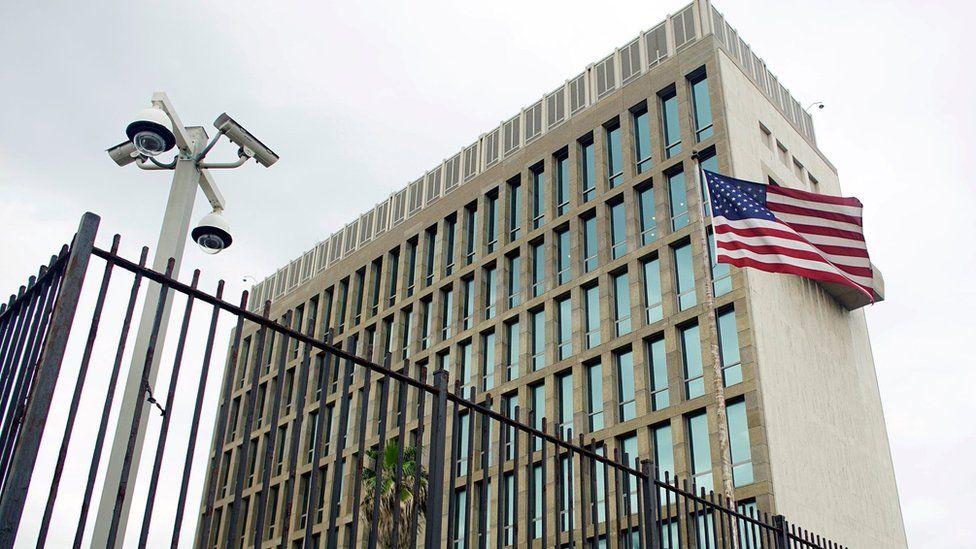 Exterior view of the US embassy in Havana, Cuba, June 19, 2017