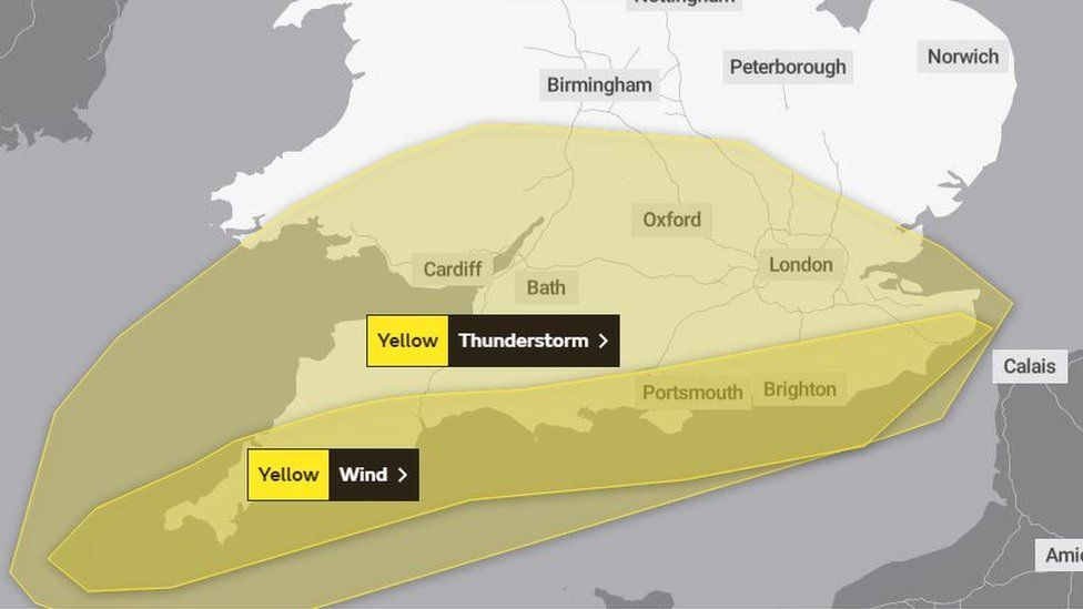 Met Office map showing yellow warnings for thunderstorms and wind