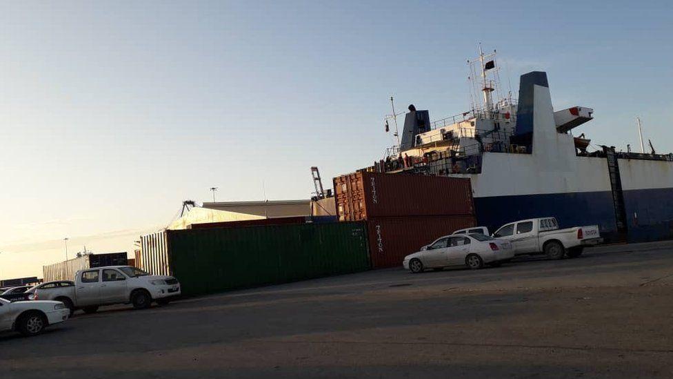 The cargo ship docked in Misrata
