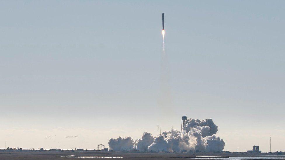 The Northrop Grumman Antares rocket, with Cygnus resupply spacecraft onboard, launching from Nasa's Wallops Flight Facility in Virginia, 2 November