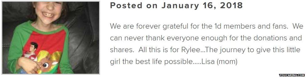 Rylee's mum posted on the fundraising page