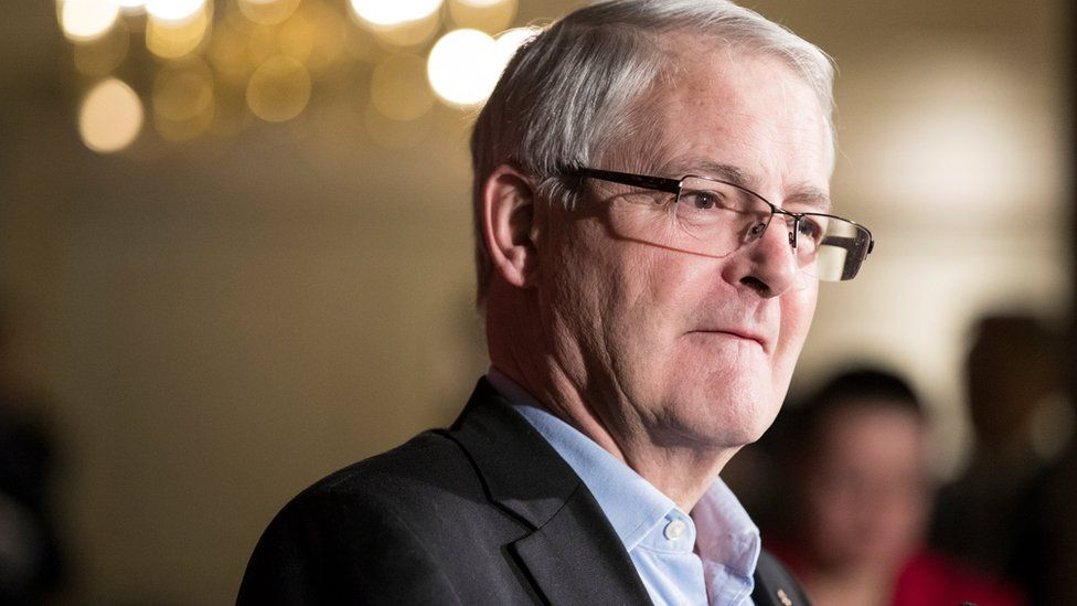The Honourable Marc Garneau, Minister of Transport, speaks to the media while he and his cabinet take part in a two-day Liberal retreat in Calgary, Alberta, Canada January 24, 2017.