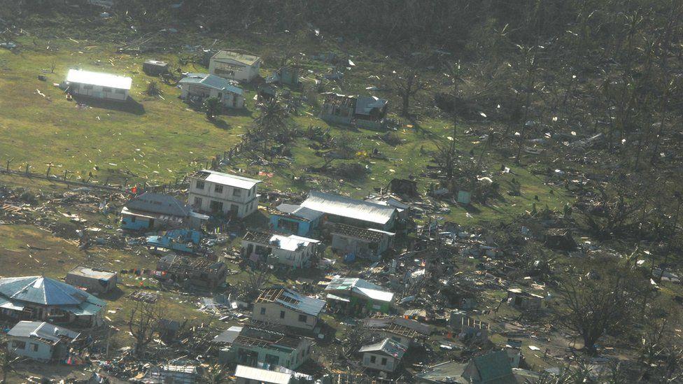Aerial photo of devastation on Yacata island