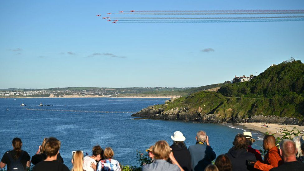 Red Arrows flying over Carbis Bay, Cornwall