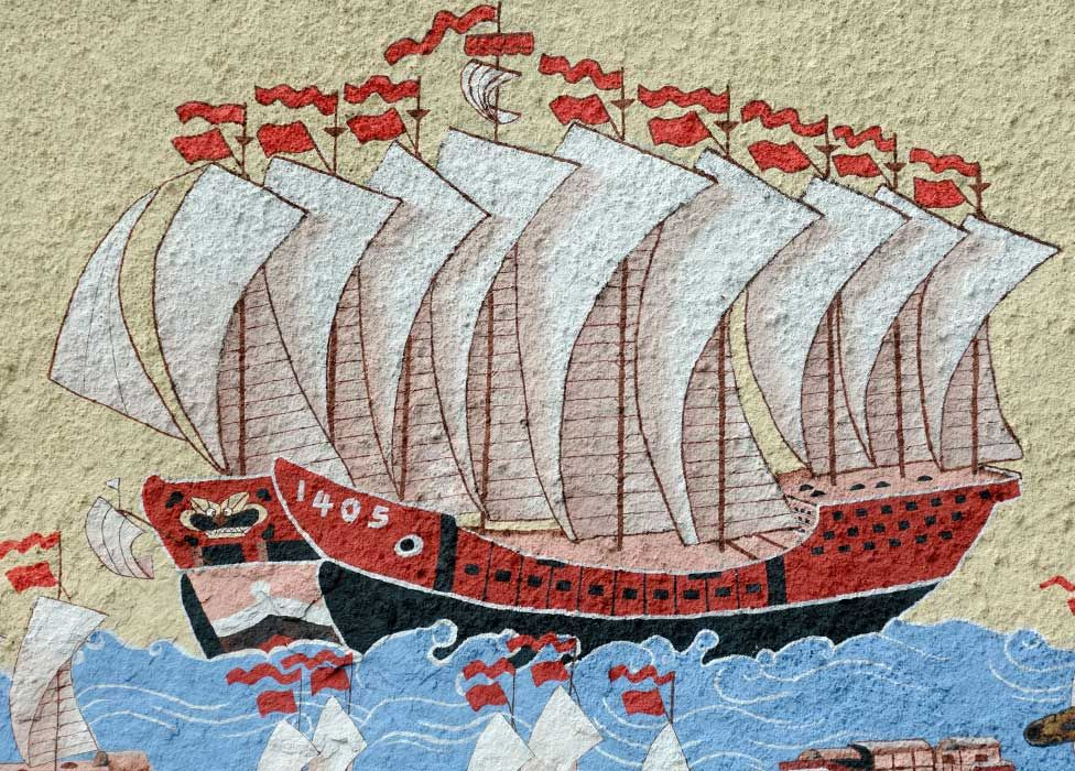 A painting of one of Admiral Zheng He's ships on the wall of the Chinese Temple Shrine Penang, Malaysia