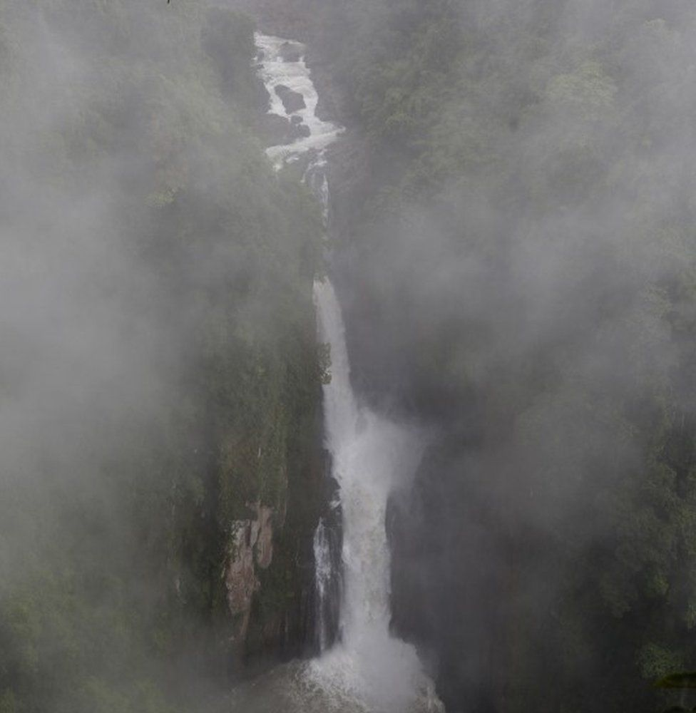 Haew Narok Waterfall crashes through jungle and falls from a great height