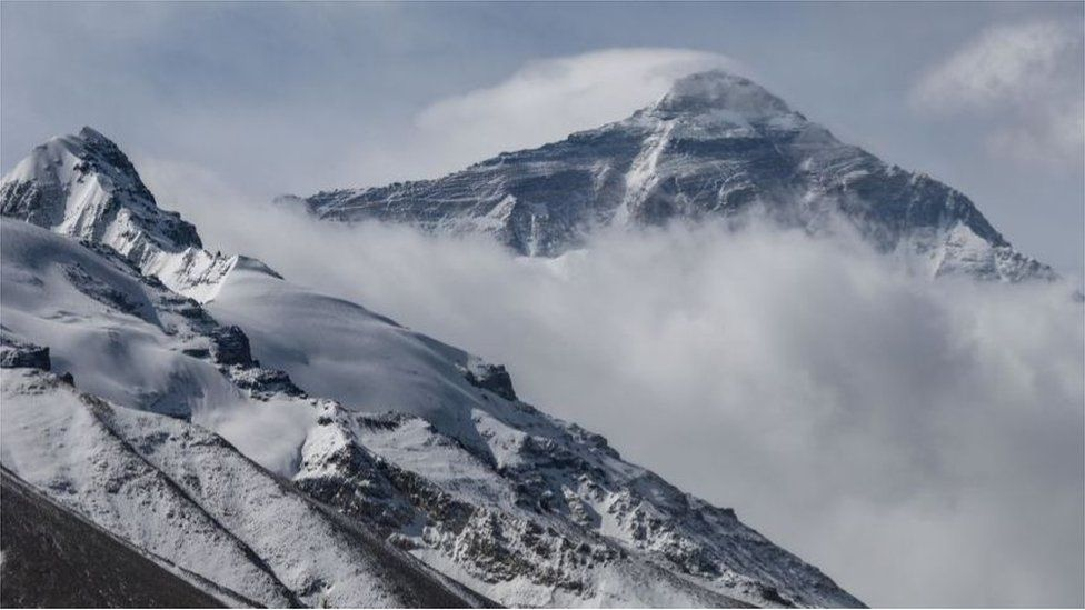 A general view of Mount Everest as seen from the base camp on the Chinese side on May 11, 2020