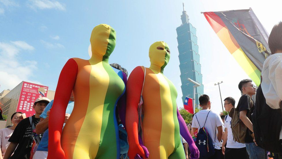 People participate in the annual Taipei Pride march in Taipei