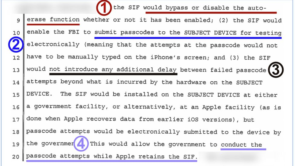 Segment from court documents relating to Apple unlocking case