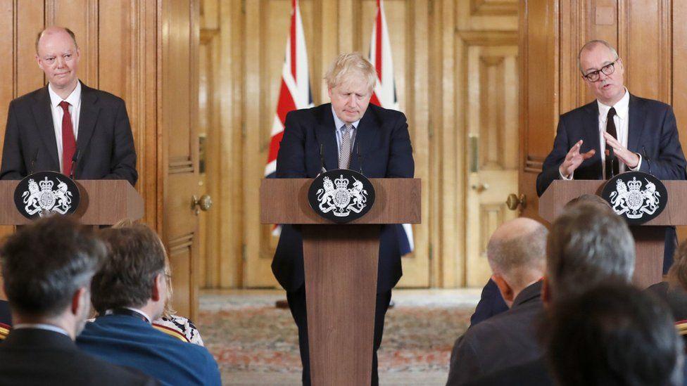 Prof Chris Whitty, Boris Johnson and Sir Patrick Vallance