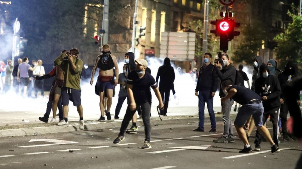 Protesters hurl rocks at police on 8 July