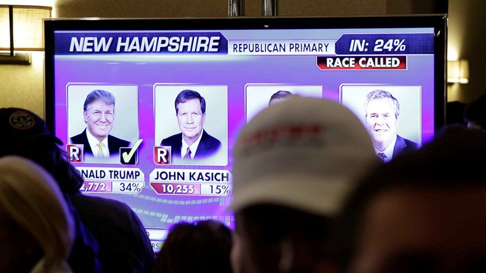 Supporters watch election returns on a big screen as they wait for Republican presidential candidate, businessman Donald Trump to speak during a primary night rally, Tuesday, Feb. 9, 2016,