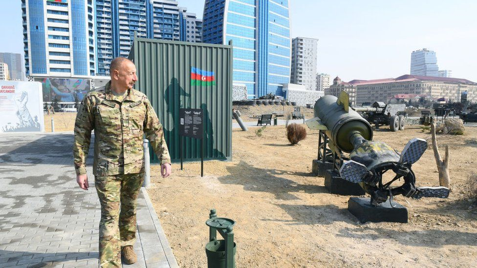 President Ilham Aliyev is seen during the opening ceremony of Spoils of War Museum