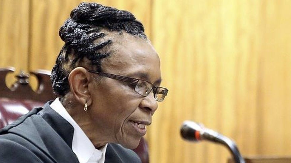 South African judge Thokozile Masipa delivers judgement during the appeal by prosecutors against the verdict and sentence of South African Paralympic athlete Oscar Pistorius in the North Gauteng High Court in Pretoria, on December 10, 2014