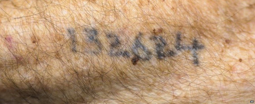 The tattooed number of Auschwitz survivor Leon Schwarzbaum