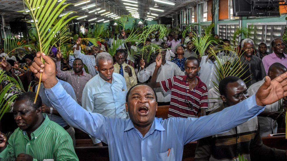 A church service in Tanzania - with no social distancing