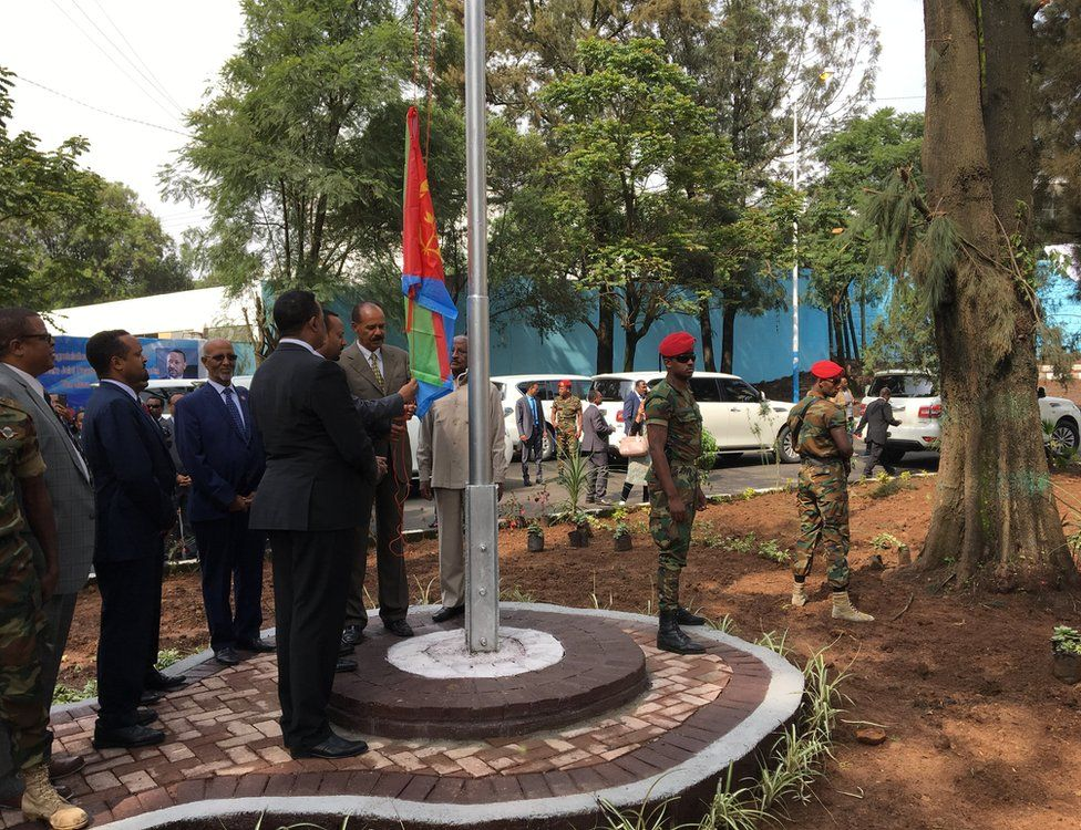 President Isaias Afwerki at the embassy with his host Prime Minister Abiy Ahmed as he raises Eritrea's flag for the first time in 20 years