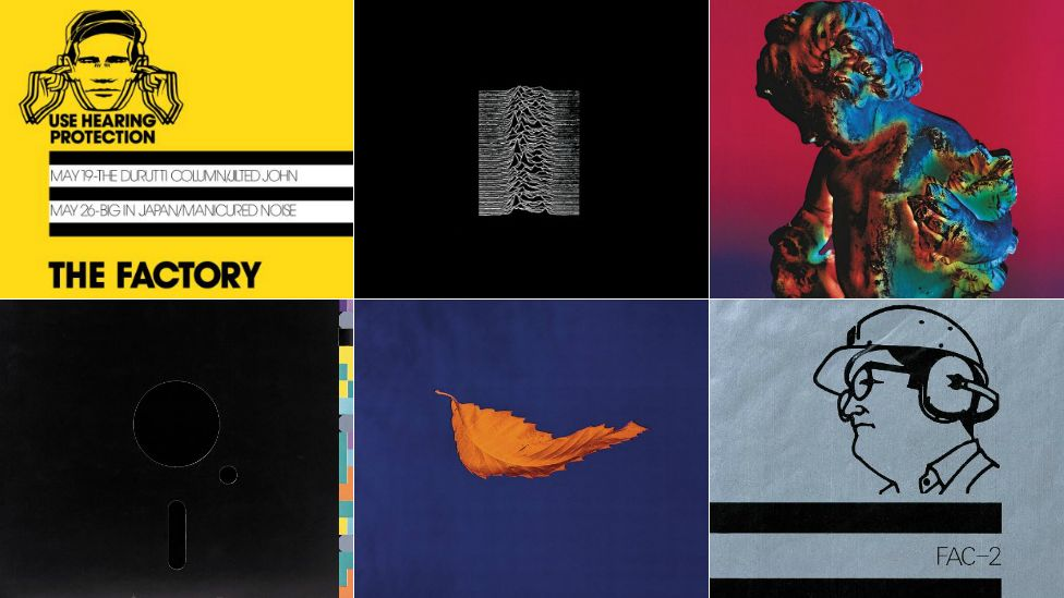 (clockwise from top left) The Factory Poster, 1978 - Peter Saville; Unknown Pleasures, Joy Division, 1979 - Peter Saville, Joy Division; Technique, New Order, 1989 - Peter Saville, Trevor Key; A Factory Sample, 1978 - Peter Saville; True Faith, New Order, 1987 - Peter Saville, Trevor Key; Blue Monday, New Order, 1983 - Peter Saville