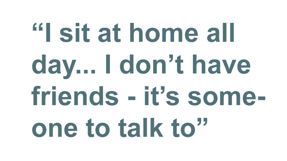Quotebox: I sit at home all day... I don't have friends - it's someone to talk to
