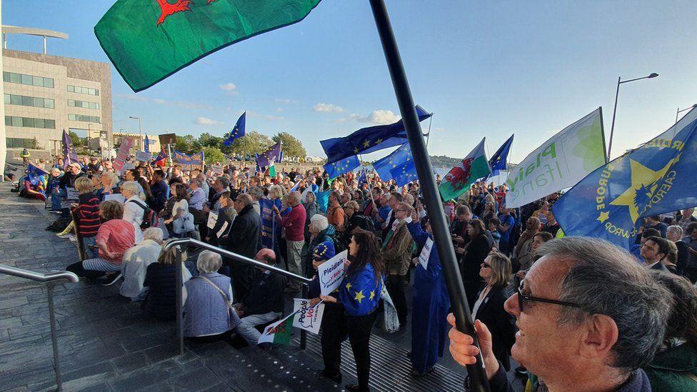Protest on the Senedd Steps