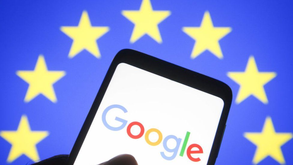 Illustration of Google and the EU flag