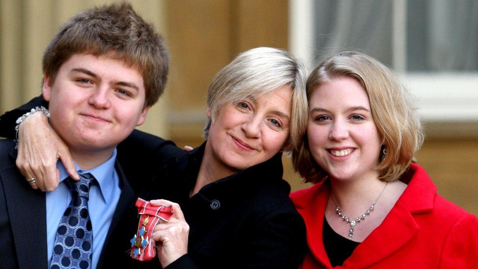 Victoria Wood and her children Henry and Grace