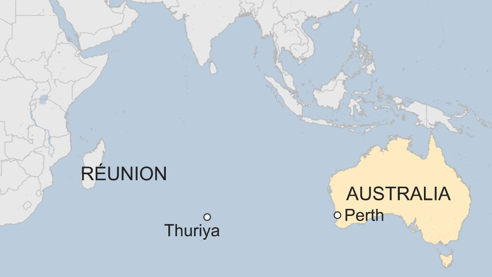 Map showing approximate location of the Thuriya at 02:28 GMT on Saturday