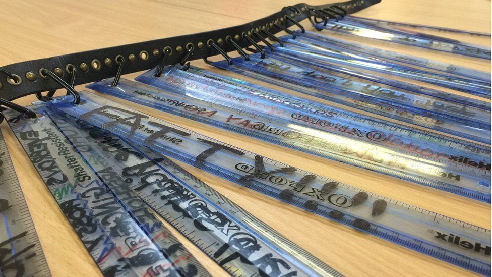 rulers with insults written on
