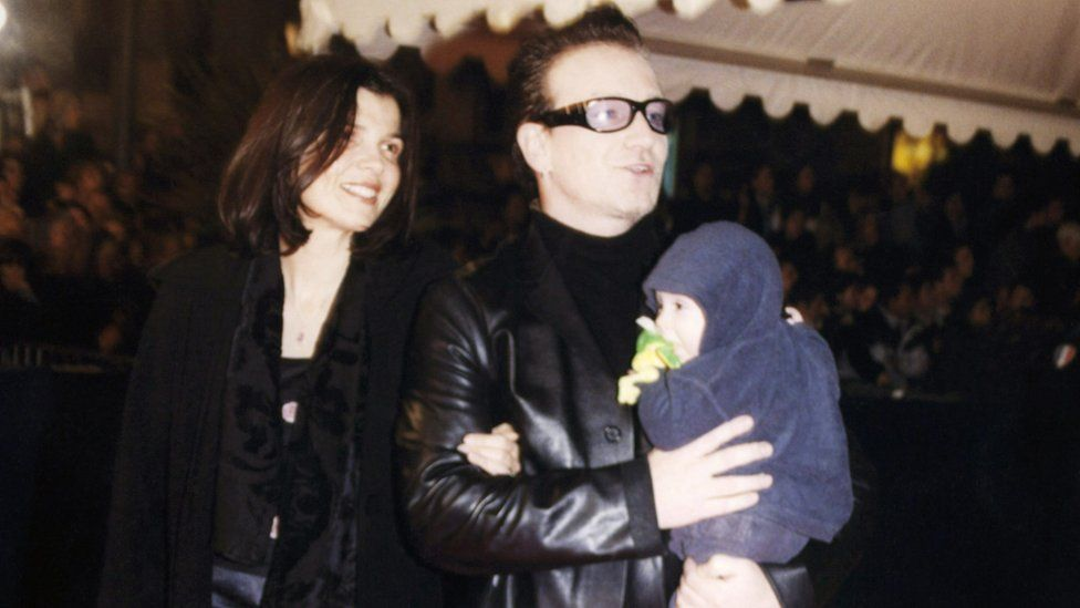 Bono and wife Ali with baby Elijah in 2000