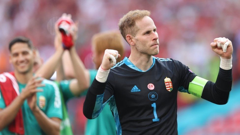 Goalkeeper Peter Gulacsi (R) of Hungary and teammates react after the UEFA EURO 2020 group F preliminary round soccer match between Hungary and France in Budapest, Hungary, 19 June 2021