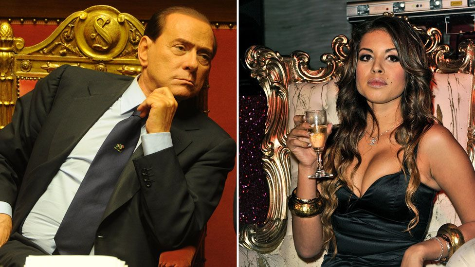A composite image shows Silvio Berlusconi, left, leaning casually in the golden chair of parliament in 2010, while on the right is pictured Karima El-Mahroug, seated in a rather more ornate golden chair at a nightclub photoshoot, wearing a black dress and raising a glass of champagne